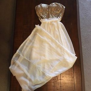 White dress with gold sequins top